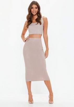 Missguided Tall Pink Glitter Ribbed Midi Skirt