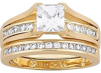 Generic 2.75 Carat T.G.W. Cubic Zirconia Gold Plated 2 piece Wedding Ring Set