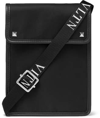 Valentino Garavani Leather-Trimmed Nylon Messenger Bag - Men - Black