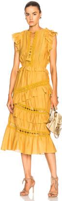 Sea Crochet Pom Pom Ruffle Dress