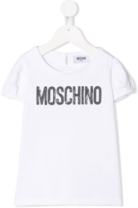 Moschino Kids sequin logo puff sleeve T-shirt