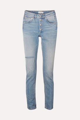 Balenciaga High-rise Distressed Slim-leg Jeans - Blue