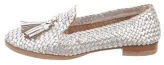 Prada Metallic Woven Leather Loafers