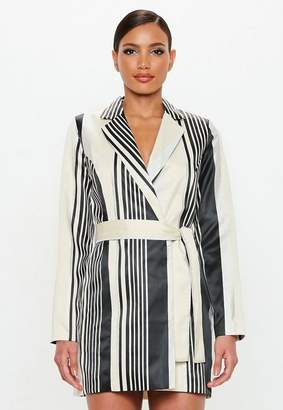 Missguided Silver Metallic Belted Stripe Dress