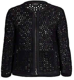 Akris Women's Open Weave Zip-Front Jacket