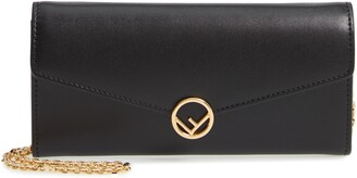 Fendi Liberty Logo Calfskin Leather Continental Wallet on a Chain