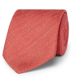 Charvet 7.5cm Herringbone Silk And Linen-Blend Tie