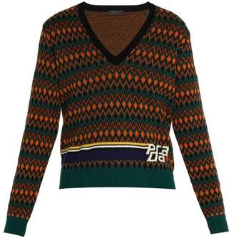 Prada Logo Intarsia Wool And Cashmere Blend Sweater - Mens - Green Multi
