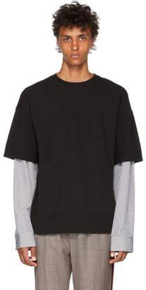 Juun.J Black Knit Poplin T-Shirt