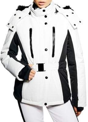 Topshop Geri Faux Fur Trim Monochrome Ski Jacket