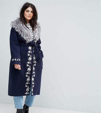 Dolly & Delicious Plus Premium Embroidered Wrap Front Coat With Fluffy Trim Detail