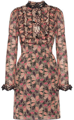 Anna Sui - Ruffled Printed Cotton And Silk-blend Mini Dress - Pink