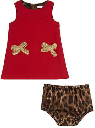 Dolce & Gabbana Infants' Bow-Appliquéd Dress & Leopard-Print Bloomers