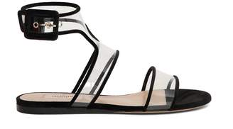 Valentino Velvet And Pvc Romantic Flat Sandals
