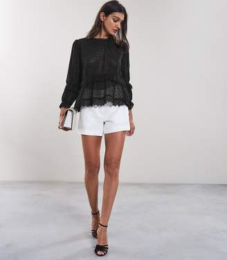 Reiss MADIE BRODERIE ANGLAISE TOP Black