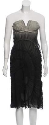 Alberta Ferretti Strapless Silk Dress