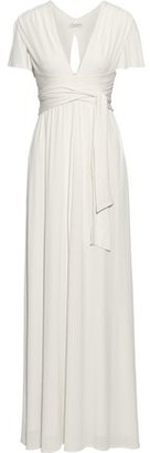 Halston Tie-front Cutout Stretch-jersey Gown