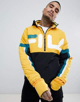 Fila Black Line Riker Overhead Track Jacket With Large Logo In Yellow