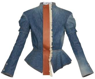 Peplum Jacket Leather Tie Indigo