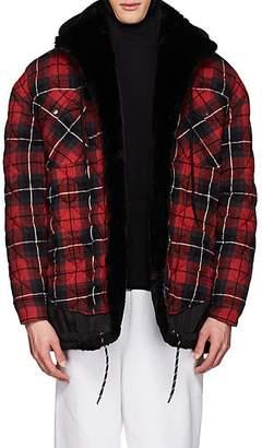 Balenciaga Men's Layered-Look Oversized Shirt Jacket - Red