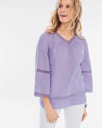 Crochet-Detail Linen Popover Top