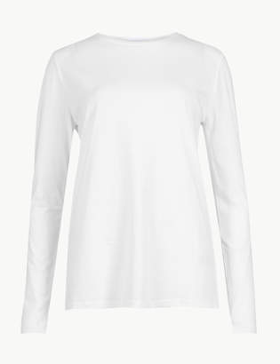 Marks and Spencer Pure Cotton Long Sleeve Straight Fit T-Shirt