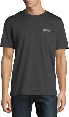 Salvatore Ferragamo Men's Sateen-Finish Pocket T-Shirt w/ Leather Logo Plaque