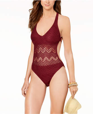 Vince Camuto Vince Camuo Strappy Crochet One-Piece High-Leg Swimsuit Women's Swimsuit