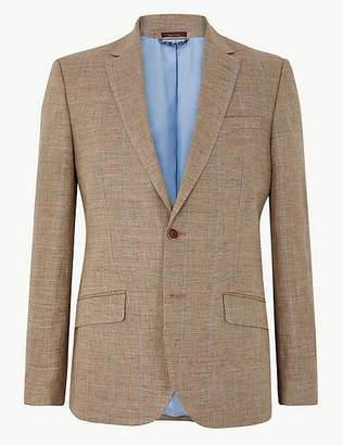 Marks and Spencer Big & Tall Pure Linen Checked Jacket