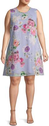 Calvin Klein Floral Sleeveless Trapeze Dress