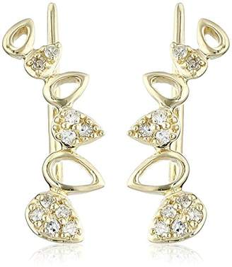 10k Gold and Diamond Leaf Earrings (1/10cttw