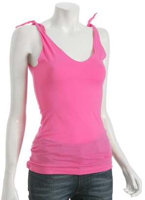 Rebecca Beeson hot pink cotton knot tank