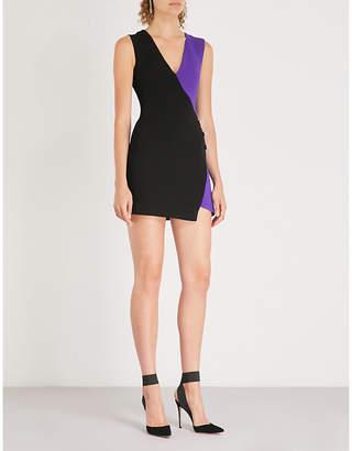 David Koma Asymmetric wool-crepe mini dress