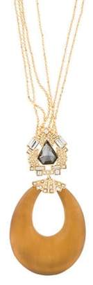 Alexis Bittar Lucite & Crystal Pendant Necklace Gold Lucite & Crystal Pendant Necklace