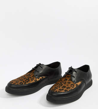 Asos DESIGN lace up shoes in black faux leather with leopard panel and creeper sole