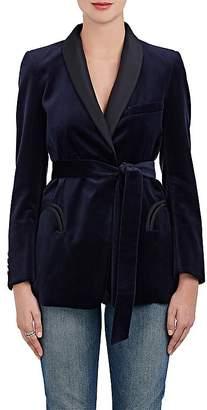 BLAZÉ MILANO Women's Silk-Trimmed Velvet Tie-Waist Blazer
