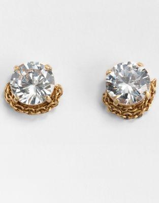 ABS by Allen Schwartz Goldtone-Wrapped Cubic Zirconia Stud Earrings
