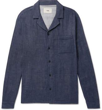 Folk Camp-Collar Double-Faced Cotton Over Shirt