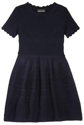 Armani Junior Girls' Scalloped Stretch-Knit Dress - Big Kid