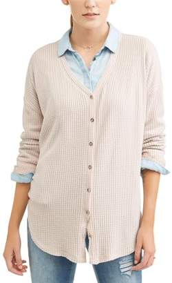 Alison Andrews Women's Long Sleeve V-Neck Button Up Knot Waffle Thermal