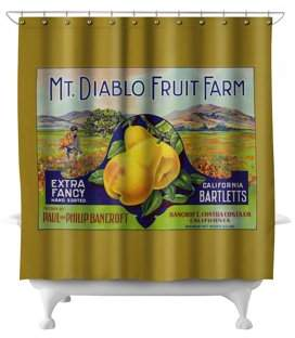 Lantern Press Bancroft, California - Mt. Diablo Fruit Farm Brand Pear - Vintage Label (71x74 Polyester Shower Curtain)