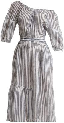 Apiece Apart Camellia one-shoulder striped-cotton dress
