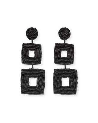 Kenneth Jay Lane Double Square Seed Bead Drop Earrings, Black