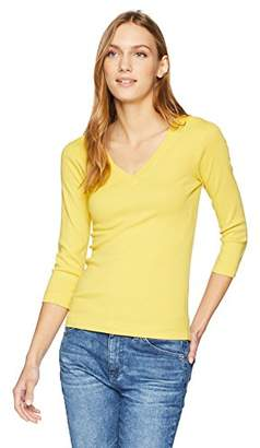 Three Dots Women's Heritage Knit 3/4 SLV v-Neck Short Tight Top