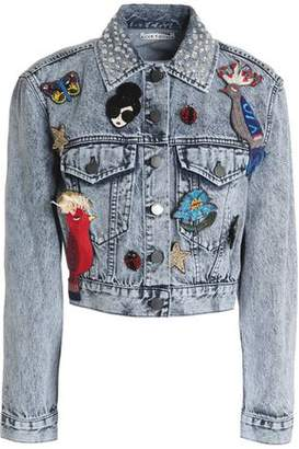 Alice + Olivia Alice+olivia Embellished Bleached Denim Jacket