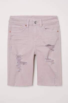 H&M Knee-length Denim Shorts - Pink