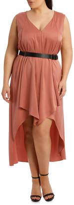 Dessert Sand Asymmetric Drape Neck Dress