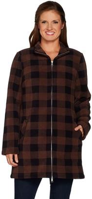 Denim & Co. Petite Plaid Sherpa Lined Fleece 2-Way Zip Up Jacket