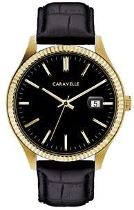 Bulova CARAVELLE Designed by Caravelle Men's Black Leather Strap Gold-Tone Stainless Steel Dress Watch 41mm