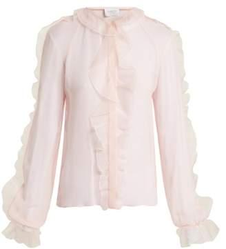 Giambattista Valli - Ruffle Trimmed Silk Chiffon Blouse - Womens - Pink